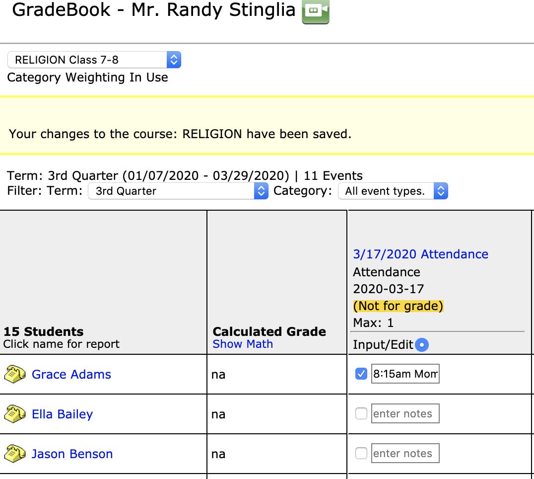 Gradebook Attendance Input